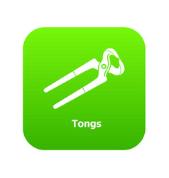 Tongs icon green vector