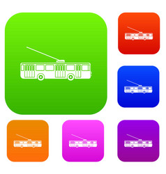 trolleybus set collection vector image