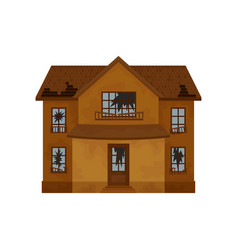 two-storey brown house with destroyed roof broken vector image