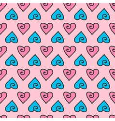 Valentines Day doodle hearts seamless pattern vector