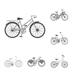 various bicycles monochrome icons in set vector image