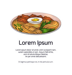 Vertical banner with color ramen and place for the vector