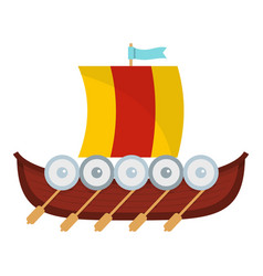 Viking boat icon flat style vector