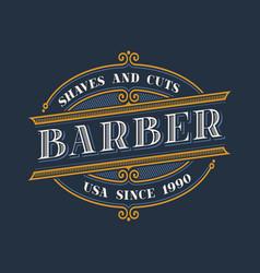 vintage barbershop logo design vector image