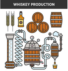 Whiskey production technology or whisky brewery vector