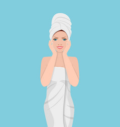woman with a towel on her head vector image