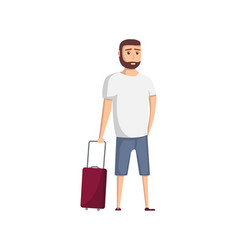 young travel man with suitcase icon vector image