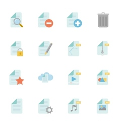 Files and documents color flat icons set vector image
