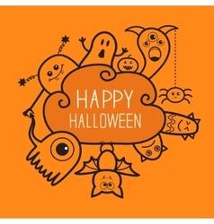 Happy halloween countour doodle ghost bat vector