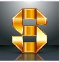 Letter metal gold ribbon - S vector image