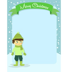 Merry Christmas Boy Banner Greeting Card vector image