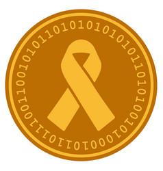 mourning ribbon digital coin vector image
