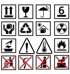 warning of packaging symbol vector image