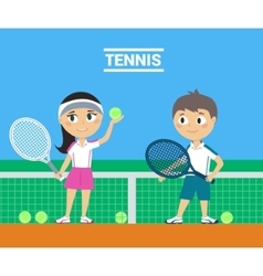 Young Tennis Players vector image