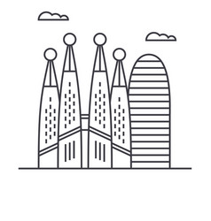 barcelona line icon sign on vector image