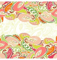 Colourful seamless Indian paisley border vector image vector image