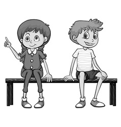 Girl and boy sitting on a bench vector image vector image