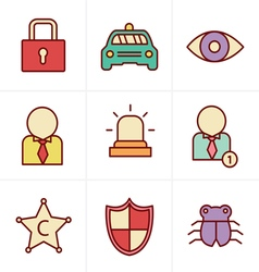 Icons Style Security icon set on white background vector image