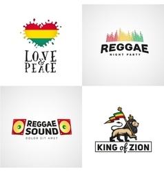 Set of reggae music design love and peace vector