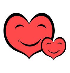 smiling heart faces icon icon cartoon vector image