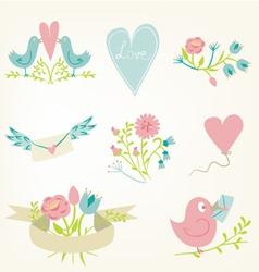 Valentines Day elements set vector image vector image