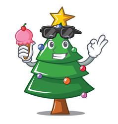 With ice cream christmas tree character cartoon vector