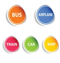 sticker with transport set color vector image vector image
