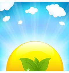Sun With Beams And Sprout vector image