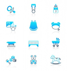 baby objects icons marine vector image