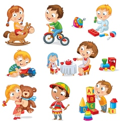 Children play with toys vector image