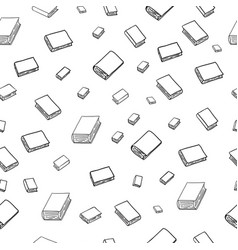fun seamless pattern with cartoon books vector image