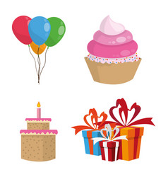happy birthday elements vector image