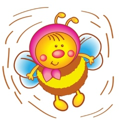 Little bee in a scarf on a white background vector image vector image