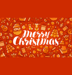merry christmas xmas greeting card or banner vector image vector image