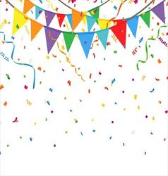 Party flags with confetti and streamer vector image