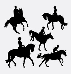 riding horse silhouette vector image vector image