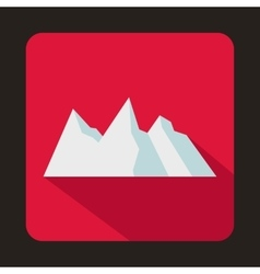 Snowy mountains icon flat style vector image