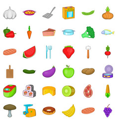 vegetable icons set cartoon style vector image vector image