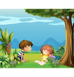 A boy with a girl reading in the garden vector
