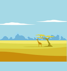 african landscape giraffe tree vector image