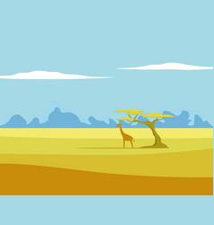 African landscape giraffe tree vector