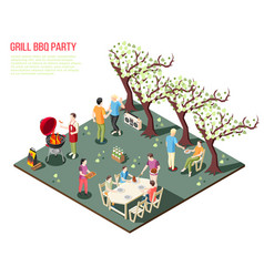 backyard barbecue party background vector image