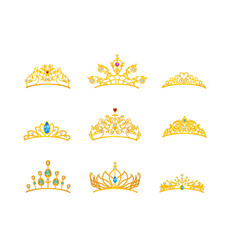 Beautiful tiara gold with different size and model vector