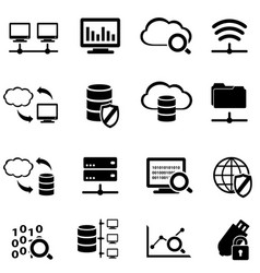 Big data and cloud computing icon set vector