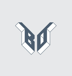 Bo - 2-letter code or logo b and o - monogram vector