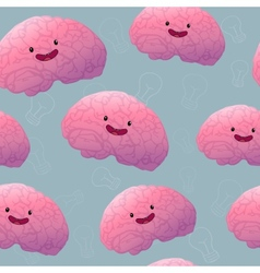 Brainstorm happy brain seamless pattern vector