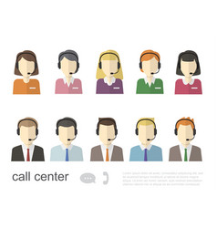 call center operator icons flat vector image