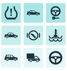 Car icons set with warning crossover lorry and vector