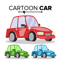 Cartoon car reg green blue flat style vector