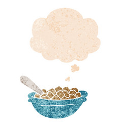 Cartoon cereal bowl and thought bubble in retro vector